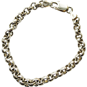 Vintage Bracelet Unusual Roco Link Chain Sterling Silver - Italian - 7.5 inch Woman's or Man's