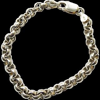 Vintage Bracelet Unusual Roco Link Chain Sterling Silver - Italian - 7.5 inch Woman's or Man's