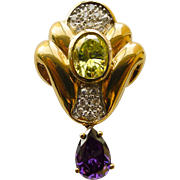 Vintage Sterling Silver Gold Plated Art Deco Peridot/Amethyst Pendant