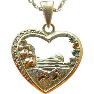 "Vintage Sterling Silver Quoted Heart Pendant Necklace with 4 Stones and 21"" long 1mm Sterling Silver Chain"