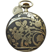 Pocket Watch - Antique Art Nouveau Niello Enamel Longines Pocket Watch Circa 1899