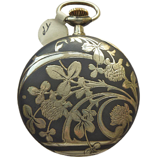 Pocket Watch - Antique Art Nouveau Niello Enamel Longines Pocket Watch Circa 1899