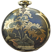 Pocket Watch - Antique Art Nouveau Niello Enamel Juvenia 18kt & Sterling Silver Pocket Watch Circa 1899