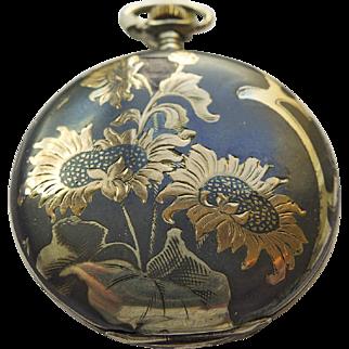 Pocket Watch - Antique Art Nouveau Niello Enamel Juvenia 18kt & Sterling Silver Pocket Watch Circa 1899