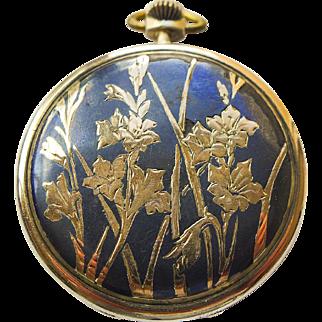 Pocket Watch - Antique Art Nouveau Niello Enamel Lohengrin 18kt & Sterling Silver Pocket Watch Circa 1899