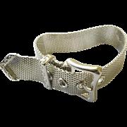 """Vintage Bracelet - Sterling Silver - Belt Bracelet - 9"""" long Unisex"""