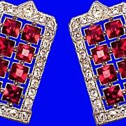 ART DECO Diamante & Ruby Paste Vintage 1930s Clips