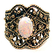 Stunning Etruscan Style 14 Karat Gold and Opal Cigar Band Ring
