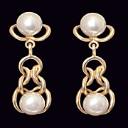 14K Gold Sublime Chic Herakles Knot Style Cultured Pearl Chandelier Earrings
