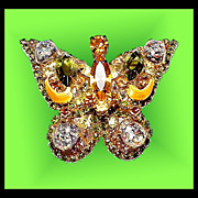 Delizza Elster Juliana Butterfly Rhinestone Pin Brooch - Brilliant Gorgeous Vintage 1960s