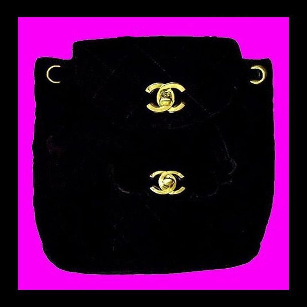 CHANEL Black Quilted Velvet Lambskin Backpack Purse