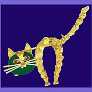 Bejeweled Avant-Garde 18K Gold Italian Feline Brooch