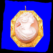 QUEENS CONCH Antique Roman Goddess 12K Gold Hand Carved Cameo Pin Pendant