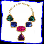 KENNETH J LANE Lucite Faux Gemstone Goldtone Statement Necklace