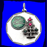 CHRISTMAS TREE Gorgeous Heavy Sterling Silver Enamel Charm