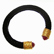 Superlative Chic Black Shagreen Bracelet with Ruby Zoisite and Gold Plated Sterling Silver Terminals