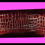 Falchi Patent Leather Alligator Embossed Clutch Purse