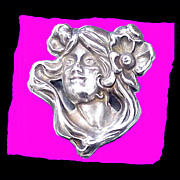 ART NOUVEAU Antique Sterling Silver Sultry Woman Brooch