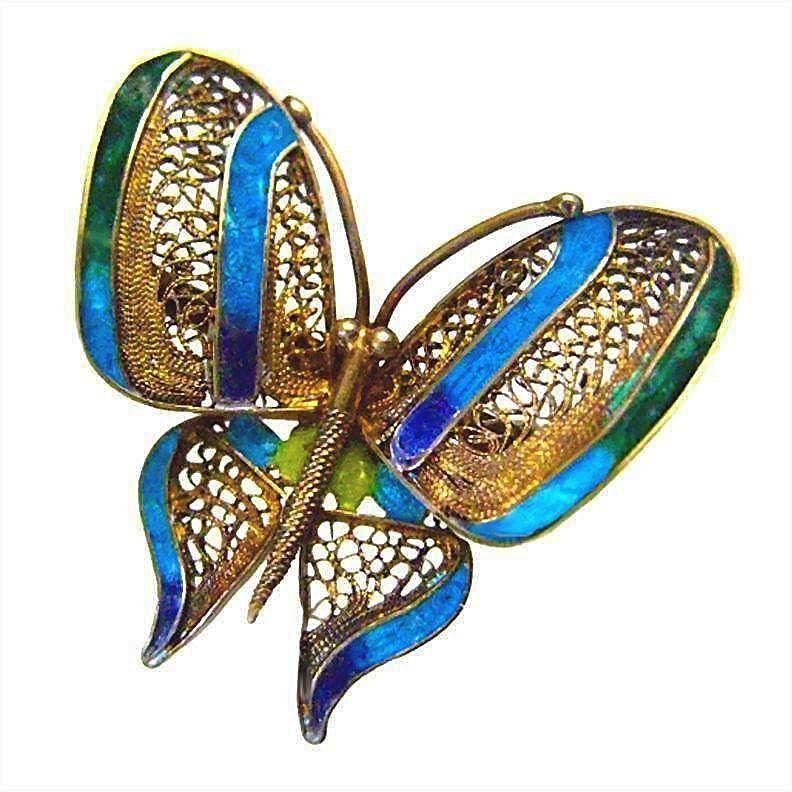 Stunning Plique A Jour Butterfly 833 Silver Portuguese Brooch Pin
