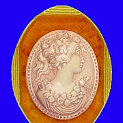 GRECIAN GODDESS Extra Large Victorian Revival Cameo Pin Brooch - Bakelite Celluloid