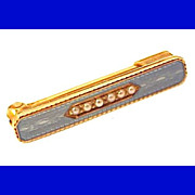 Antique 14K Gold Edwardian Pin - Exquisite Basse Taille Enamel Seed Pearls Vintage 1900s