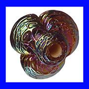 HEARTBEAD Wertz Galardy Trefoil Lampworked Carnival Glass Bead