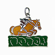 EQUESTRIAN Magnificent Show Jumping Sterling Silver and Vitreous Enamel Charm