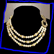 MIMI DI N Rare Egyptian Style Triple Strand Faux Pearl Necklace