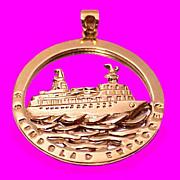 HS LINDBLAD EXPLORER 14K Gold National Geographic Tours Adventure Cruise Pendant or Charm
