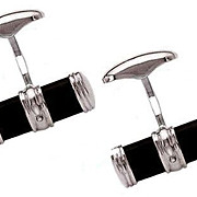 VICTOR MAYER German Handcrafted Triple Band Sterling Silver Onyx Cufflinks