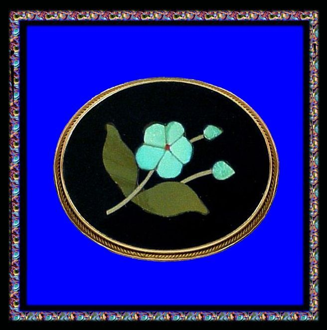 FORGET ME NOT 18K Gold Florentine Mosaic Pietra Dura Pin