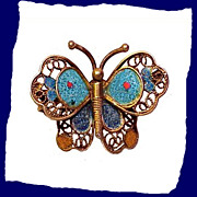 Italian Plique-A-Jour Enamel 800 Silver Butterfly Pin