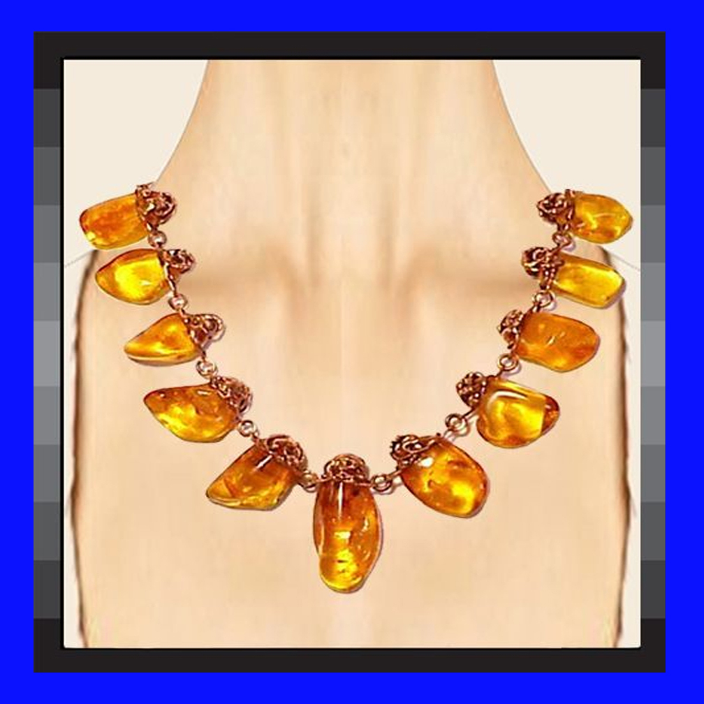 BALTIC AMBER Mid Century Modern Style Handwrought Copper Necklace