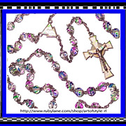 ROSARY Rare Mid-Century Italian 800 Silver Tricolor Givre Bead and Enamel