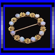 14K Gold Crystal Opal Eternity Circle Brooch - Victorian Revival Heirloom Quality Piece