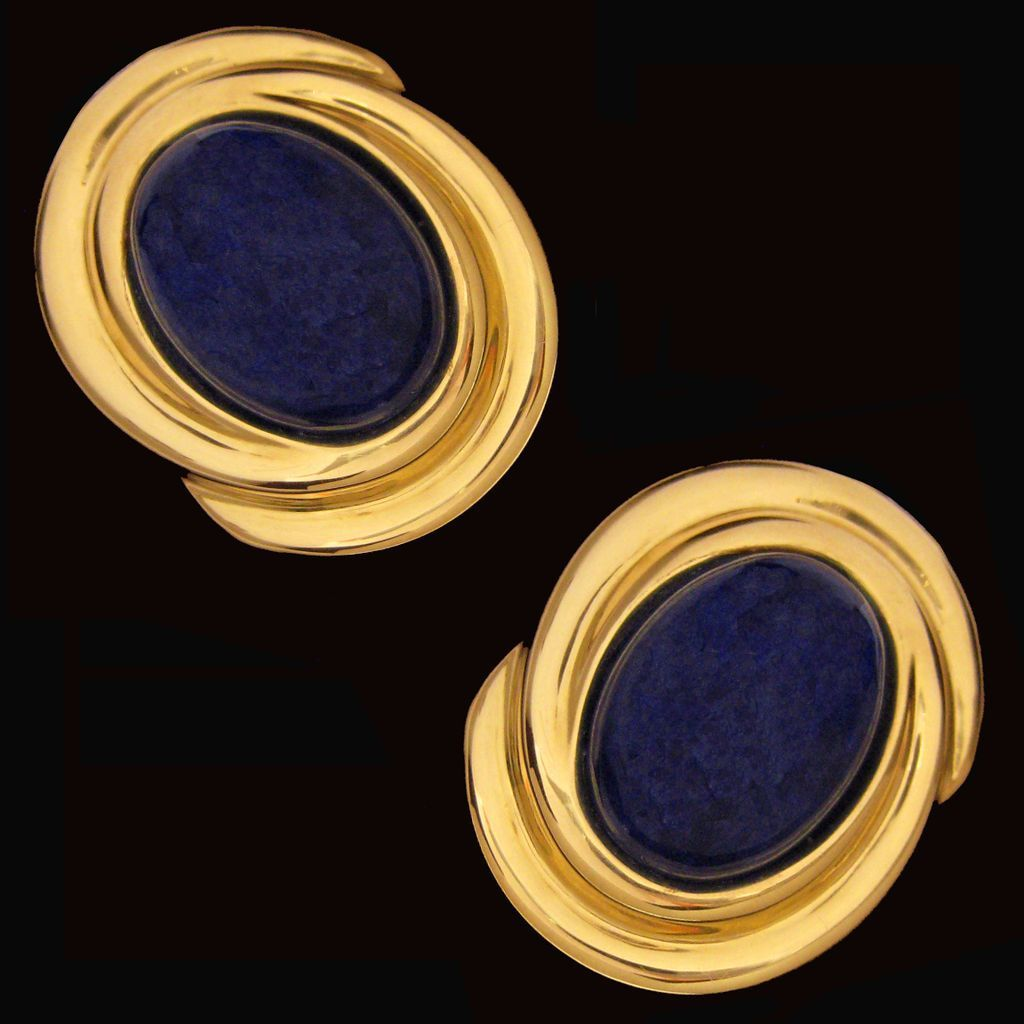 Stunning Large 14K Yellow Gold Curvilinear Swirl and Lapis Lazuli Earrings