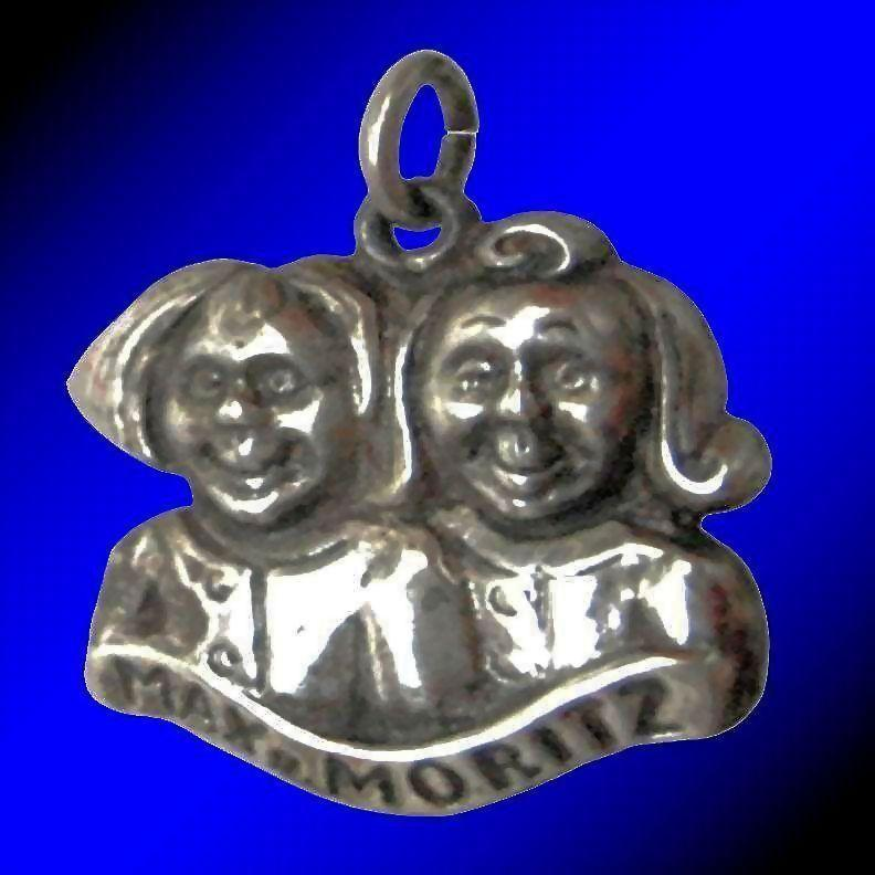 MAX AND MORITZ Rare Vintage European 835 Silver Charm - German Fable Protagonists