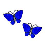 Scandinavian Sterling Silver Cobalt Blue Enamel Butterfly Earrings