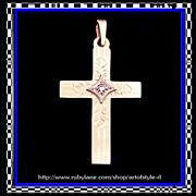 14K Gold Diamond Engraved Cross Pendant - Art Moderne Period Vintage 1950s