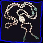 NEIGER Vintage Art Deco Egyptian Revival Green Uranium Glass Bead Necklace
