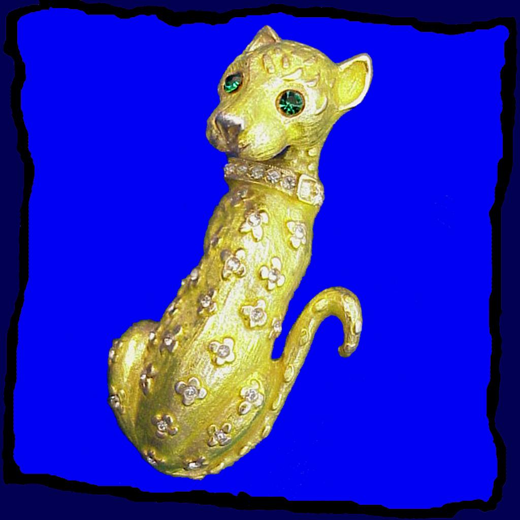 HATTIE CARNEGIE Ferociously Fierce Enameled Panther Pin