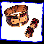 Matisse Abstract Mid Century Modern Enameled Copper Bracelet and Earrings
