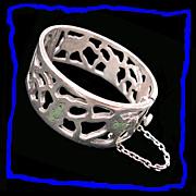 MIGUEL MELENDEZ Mid Century Modern Rare Vintage Taxco Sterling Silver Hinged Bangle Bracelet