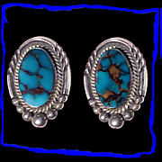 FRANCES Navajo Sterling Silver Bisbee Turquoise Earrings