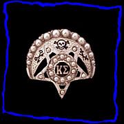 KAPPA SIGMA 14K White Yellow Gold Vintage Fraternity Badge Pin