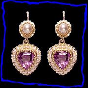 Stunning 14K Gold Heart Amethyst Cultured Pearl Dangle Drop Earrings