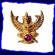 Cool Eclectic 14k Gold Winged Hindu Deity Almandine Garnet Pin