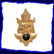 Vintage 14K Gold Thai Dancer Black Star Sapphire Pin