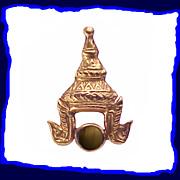14K Gold Thai Headdress Black Star Sapphire Tie Tack or Lapel Pin