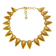 GIVENCHY Bold Goldtone Stylized Leaf Necklace